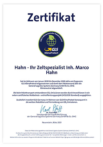 Zertifikat GLS KlimaProtect